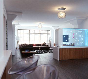 Acquario con meduse in salotto moderno